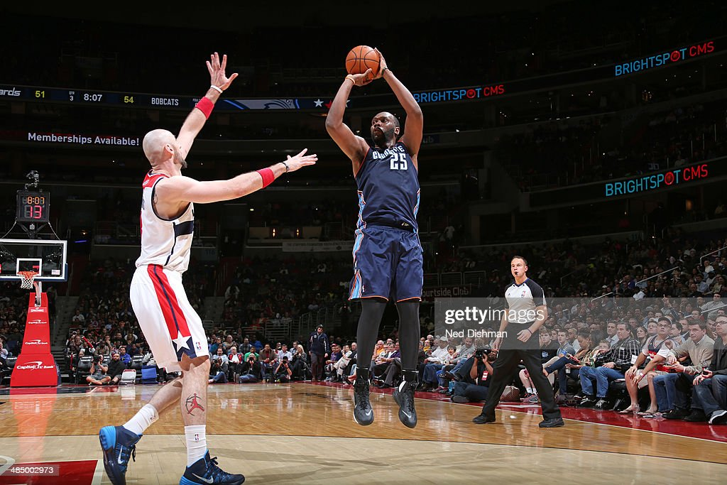<a gi-track='captionPersonalityLinkClicked' href=/galleries/search?phrase=Al+Jefferson&family=editorial&specificpeople=201604 ng-click='$event.stopPropagation()'>Al Jefferson</a> #25 of the Charlotte Bobcats takes a shot against the Washington Wizards at the Verizon Center on April 9, 2014 in Washington, DC.