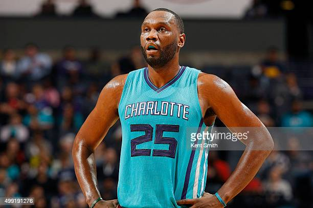 Al Jefferson of the Charlotte Hornets looks on during the game against the Milwaukee Bucks on November 29 2015 at Time Warner Cable Arena in...