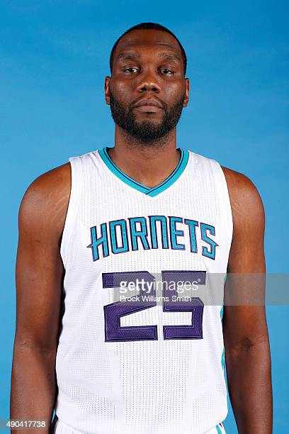 Al Jefferson of the Charlotte Hornets poses for media day at the Time Warner Cable Arena on February 4 2015 in Charlotte North Carolina NOTE TO USER...