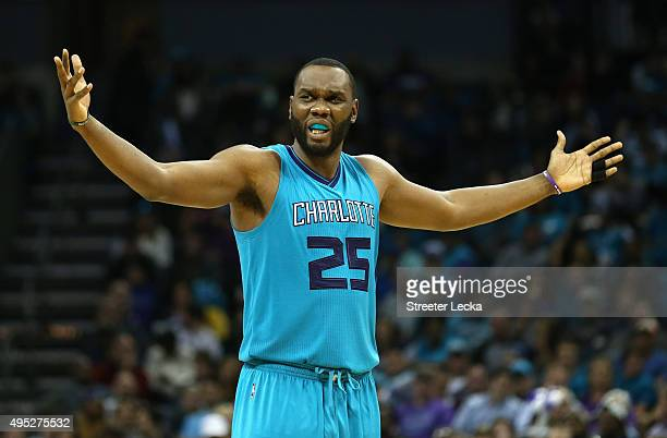 Al Jefferson of the Charlotte Hornets reacts after a play during their game against the Atlanta Hawks at Time Warner Cable Arena on November 1 2015...