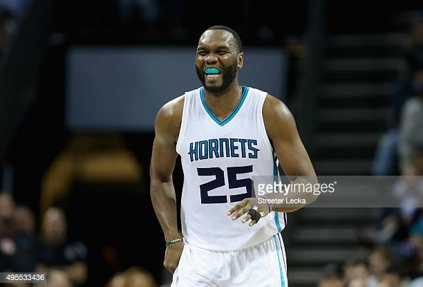 Al Jefferson of the Charlotte Hornets reacts after a play during their game against the Chicago Bulls at Time Warner Cable Arena on November 3 2015...