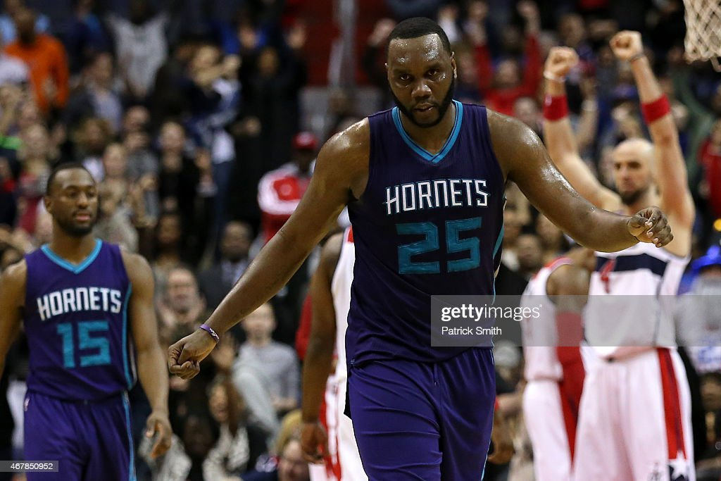 Al Jefferson #25 of the Charlotte Hornets reacts after losing to the the Washington Wizards in double overtime at Verizon Center on March 27, 2015 in Washington, DC. The Washington Wizards won, 110-107, in double overtime.