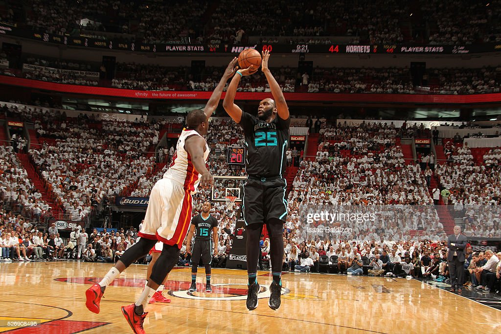 <a gi-track='captionPersonalityLinkClicked' href=/galleries/search?phrase=Al+Jefferson&family=editorial&specificpeople=201604 ng-click='$event.stopPropagation()'>Al Jefferson</a> #25 of the Charlotte Hornets shoots the ball against the Miami Heat in Game Seven of the Eastern Conference Quarterfinals during the 2016 NBA Playoffs on May 1, 2016 at American Airlines Arena in Miami, Florida.