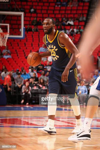 Al Jefferson of the Indiana Pacers handles the ball against the Detroit Pistons on October 9 2017 at Little Caesars Arena in Detroit Michigan NOTE TO...