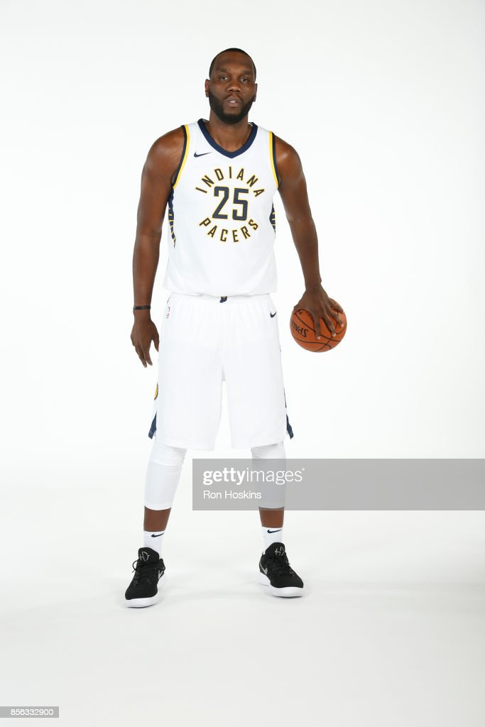 Al Jefferson #25 of the Indiana Pacers poses for a portrait during the Pacers Media Day at Bankers Life Fieldhouse on September 25, 2017 in Indianapolis, Indiana.