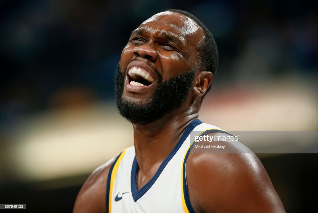 Al Jefferson #25 of the Indiana Pacers reacts during the game against the San Antonio Spurs at Bankers Life Fieldhouse on October 29, 2017 in Indianapolis, Indiana.