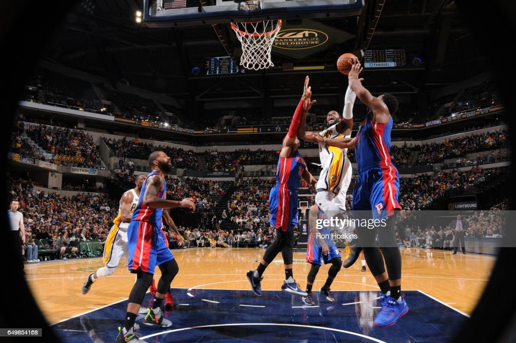 Al Jefferson #7 of the Indiana Pacers shoots the ball against the Detroit Pistons on March 8, 2017 at Bankers Life Fieldhouse in Indianapolis, Indiana.
