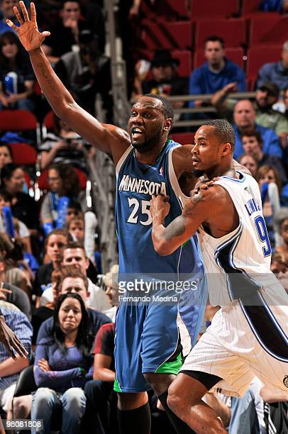 Al Jefferson of the Minnesota Timberwolves calls for the ball in the post against Rashard Lewis of the Orlando Magic during the game on March 26 2010...