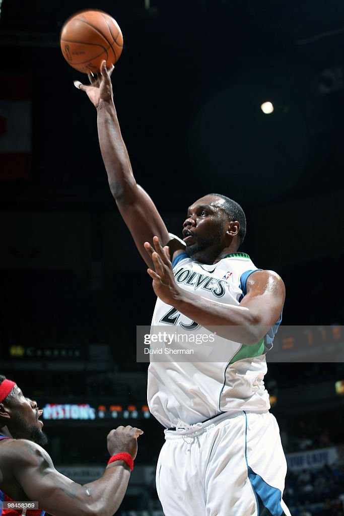 <a gi-track='captionPersonalityLinkClicked' href=/galleries/search?phrase=Al+Jefferson&family=editorial&specificpeople=201604 ng-click='$event.stopPropagation()'>Al Jefferson</a> #25 of the Minnesota Timberwolves goes up for a shot against <a gi-track='captionPersonalityLinkClicked' href=/galleries/search?phrase=Ben+Wallace&family=editorial&specificpeople=201480 ng-click='$event.stopPropagation()'>Ben Wallace</a> #6 of the Detroit Pistons during the game on April 14, 2010 at the Target Center in Minneapolis, Minnesota.