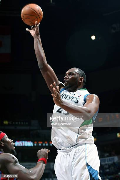Al Jefferson of the Minnesota Timberwolves goes up for a shot against Ben Wallace of the Detroit Pistons during the game on April 14 2010 at the...