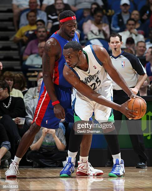 Al Jefferson of the Minnesota Timberwolves looks to move the ball against Ben Wallace of the Detroit Pistons during the game on April 14 2010 at the...