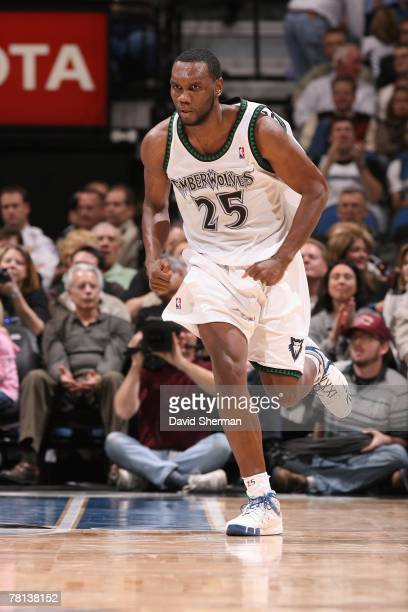 Al Jefferson of the Minnesota Timberwolves runs up the court during the game against the Washington Wizards on November 16 2007 at the Target Center...