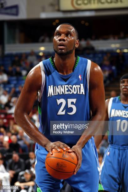 Al Jefferson of the Minnesota Timberwolves shoots a free throw during the game against the Sacramento Kings at Arco Arena on December 12 2009 in...