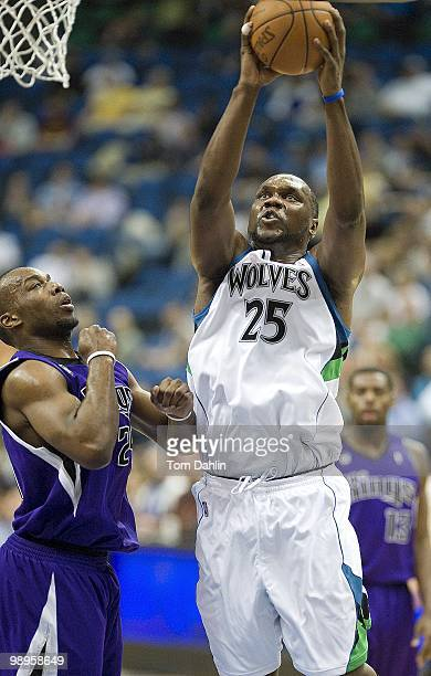 Al Jefferson of the Minnesota Timberwolves shoots against the Sacramento Kings during the game on March 31 2010 at the Target Center in Minneapolis...