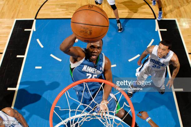 Al Jefferson of the Minnesota Timberwolves shoots against the Orlando Magic during the game on March 26 2010 at Amway Arena in Orlando Florida NOTE...