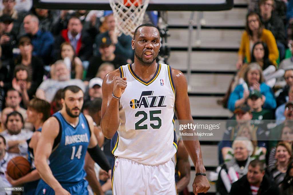 Al Jefferson #25 of the Utah Jazz celebrates during play against the Minnesota Timberwolves at Energy Solutions Arena on January 2, 2013 in Salt Lake City, Utah.