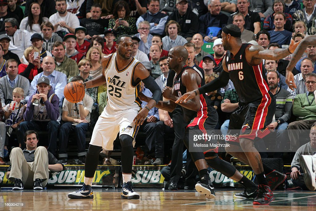 <a gi-track='captionPersonalityLinkClicked' href=/galleries/search?phrase=Al+Jefferson&family=editorial&specificpeople=201604 ng-click='$event.stopPropagation()'>Al Jefferson</a> #25 of the Utah Jazz controls the ball against <a gi-track='captionPersonalityLinkClicked' href=/galleries/search?phrase=Joel+Anthony&family=editorial&specificpeople=4092295 ng-click='$event.stopPropagation()'>Joel Anthony</a> #50 and <a gi-track='captionPersonalityLinkClicked' href=/galleries/search?phrase=LeBron+James&family=editorial&specificpeople=201474 ng-click='$event.stopPropagation()'>LeBron James</a> #6 of the Miami Heat at Energy Solutions Arena on January 14, 2013 in Salt Lake City, Utah.