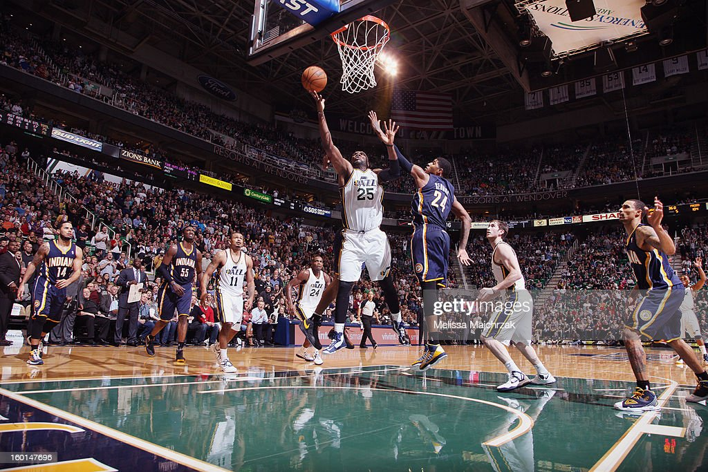 <a gi-track='captionPersonalityLinkClicked' href=/galleries/search?phrase=Al+Jefferson&family=editorial&specificpeople=201604 ng-click='$event.stopPropagation()'>Al Jefferson</a> #25 of the Utah Jazz drives to the hoop against Paul George #24 of the Indiana Pacers at Energy Solutions Arena on January 26, 2013 in Salt Lake City, Utah.