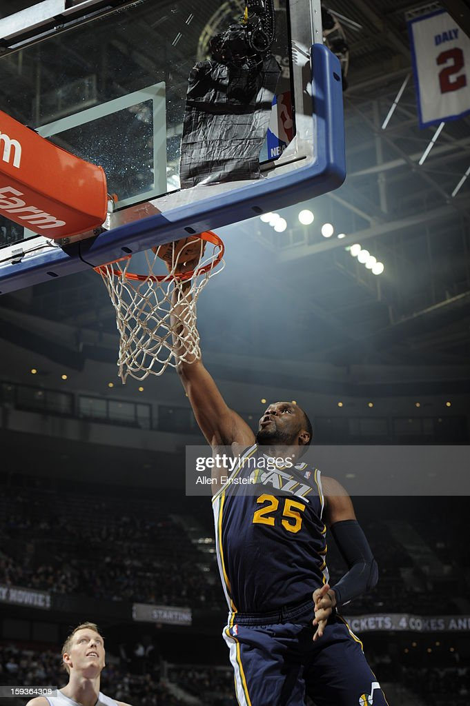 Al Jefferson #25 of the Utah Jazz dunks against the Detroit Pistons on January 12, 2013 at The Palace of Auburn Hills in Auburn Hills, Michigan.