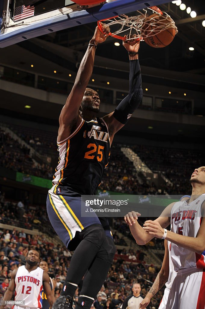 <a gi-track='captionPersonalityLinkClicked' href=/galleries/search?phrase=Al+Jefferson&family=editorial&specificpeople=201604 ng-click='$event.stopPropagation()'>Al Jefferson</a> #25 of the Utah Jazz dunks against the Detroit Pistons on January 12, 2013 at The Palace of Auburn Hills in Auburn Hills, Michigan.