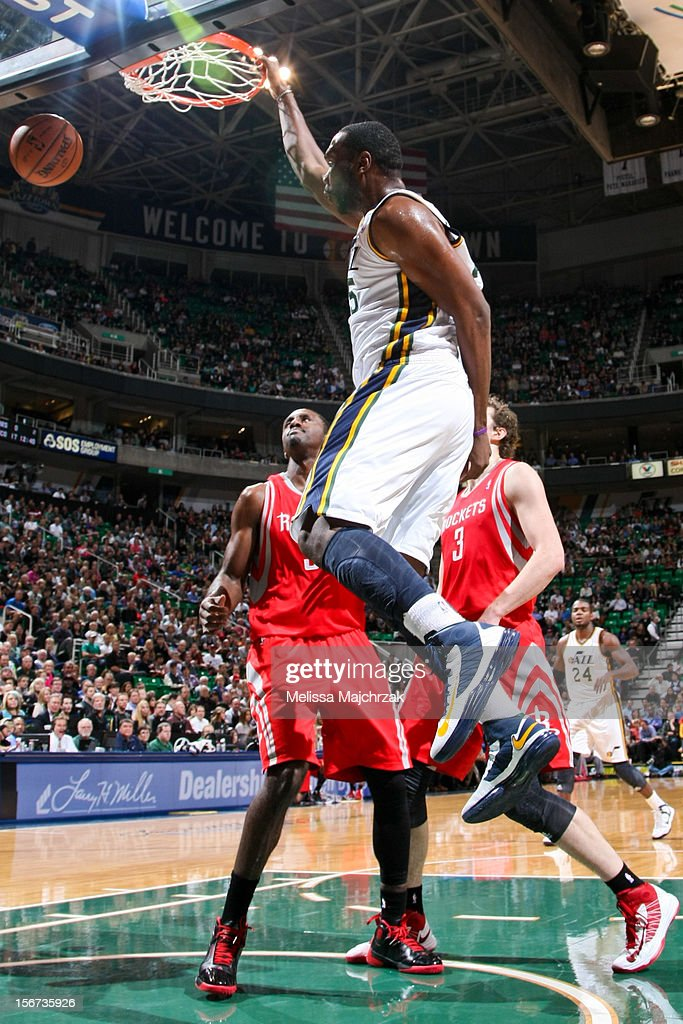Al Jefferson #25 of the Utah Jazz dunks against the Houston Rockets at Energy Solutions Arena on November 19, 2012 in Salt Lake City, Utah.