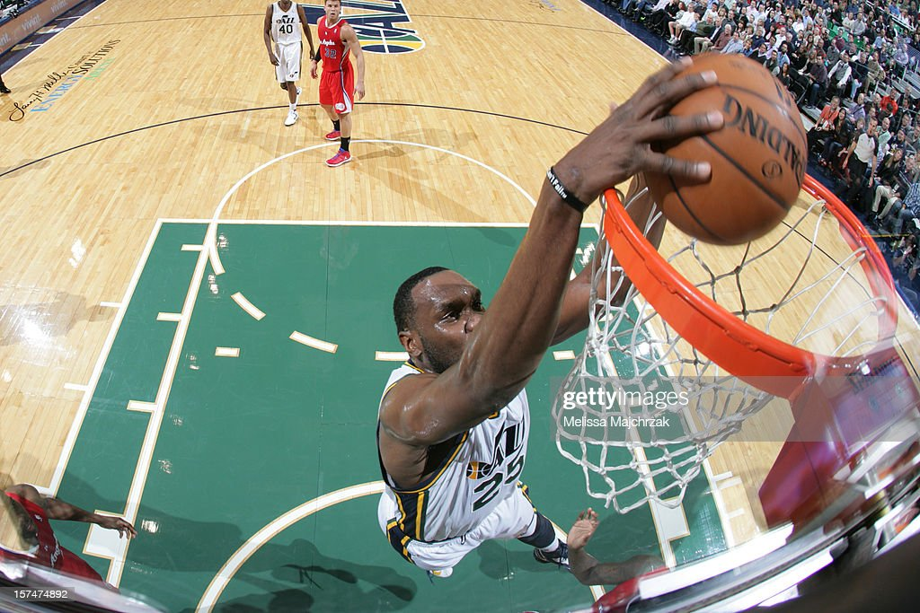 Al Jefferson #25 of the Utah Jazz dunks against the Los Angeles Clippers at Energy Solutions Arena on December 03, 2012 in Salt Lake City, Utah.