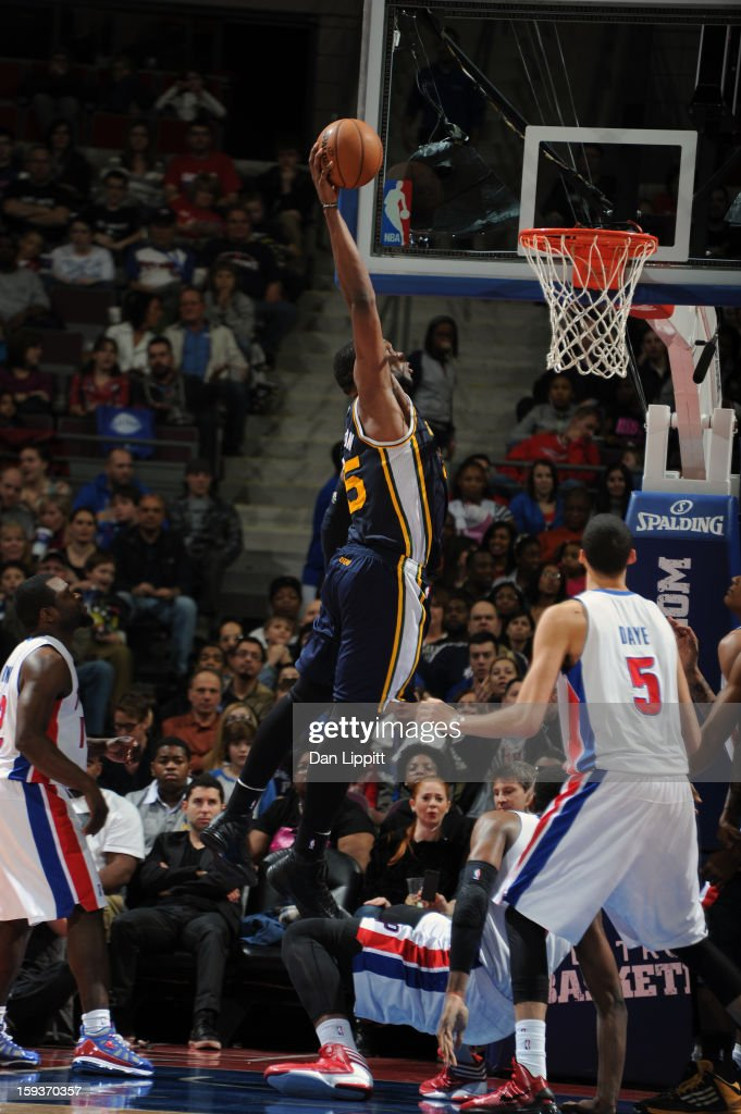 Al Jefferson #25 of the Utah Jazz goes up for the dunk against the Detroit Pistons during the game on January 12, 2013 at The Palace of Auburn Hills in Auburn Hills, Michigan.