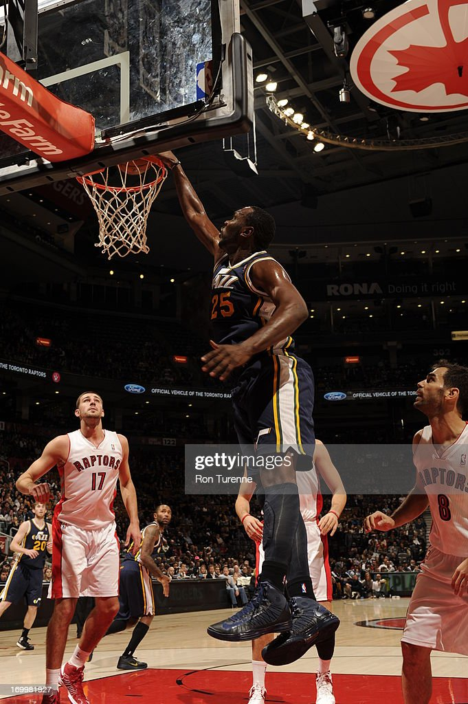 <a gi-track='captionPersonalityLinkClicked' href=/galleries/search?phrase=Al+Jefferson&family=editorial&specificpeople=201604 ng-click='$event.stopPropagation()'>Al Jefferson</a> #25 of the Utah Jazz goes up for the dunk against the Toronto Raptors during the game on November 12, 2012 at the Air Canada Centre in Toronto, Ontario, Canada.