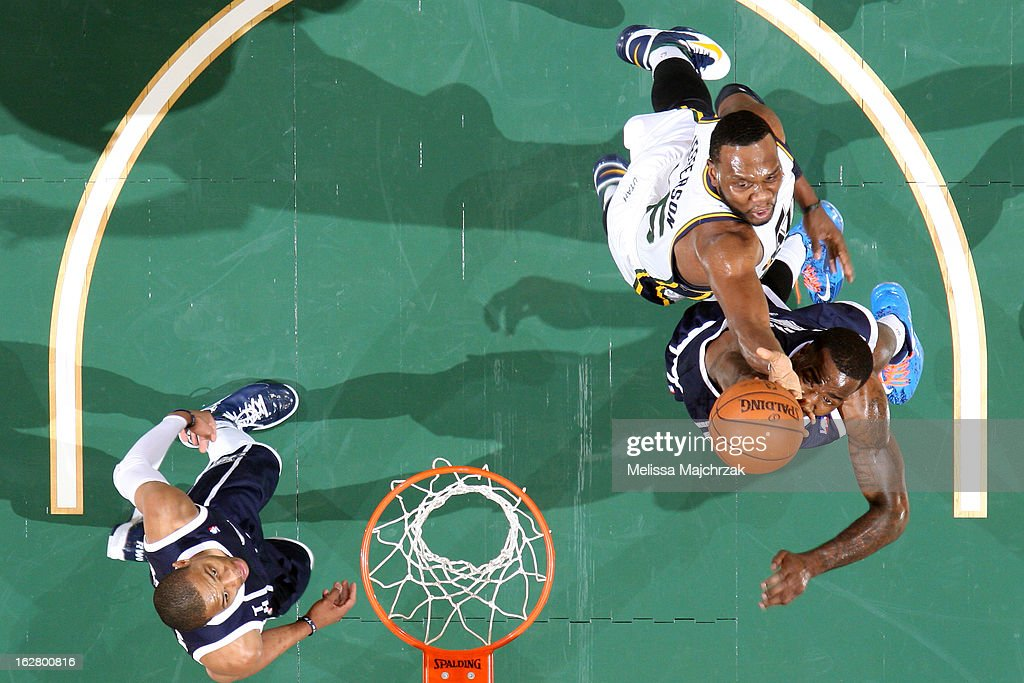 <a gi-track='captionPersonalityLinkClicked' href=/galleries/search?phrase=Al+Jefferson&family=editorial&specificpeople=201604 ng-click='$event.stopPropagation()'>Al Jefferson</a> #25 of the Utah Jazz grabs a rebound against the Oklahoma City Thunder on February 12, 2013 in Salt Lake City, Utah.