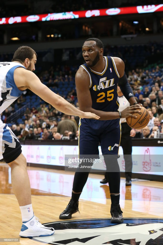 Al Jefferson #25 of the Utah Jazz looks to drive to the basket against the Minnesota Timberwolves on February 13, 2013 at Target Center in Minneapolis, Minnesota.