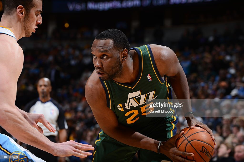 <a gi-track='captionPersonalityLinkClicked' href=/galleries/search?phrase=Al+Jefferson&family=editorial&specificpeople=201604 ng-click='$event.stopPropagation()'>Al Jefferson</a> #25 of the Utah Jazz looks to make a move against <a gi-track='captionPersonalityLinkClicked' href=/galleries/search?phrase=Kosta+Koufos&family=editorial&specificpeople=4216032 ng-click='$event.stopPropagation()'>Kosta Koufos</a> #41 of the Denver Nuggets on January 5, 2013 at the Pepsi Center in Denver, Colorado.