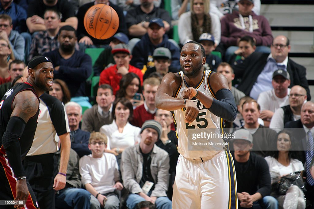 <a gi-track='captionPersonalityLinkClicked' href=/galleries/search?phrase=Al+Jefferson&family=editorial&specificpeople=201604 ng-click='$event.stopPropagation()'>Al Jefferson</a> #25 of the Utah Jazz passes the ball against the Miami Heat at Energy Solutions Arena on January 14, 2013 in Salt Lake City, Utah.