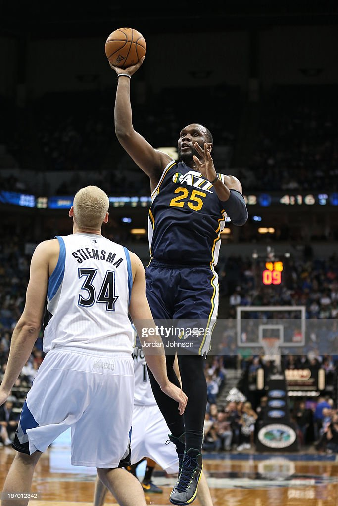 Al Jefferson #25 of the Utah Jazz puts up a shot against the Minnesota Timberwolves on April 15, 2013 at Target Center in Minneapolis, Minnesota.