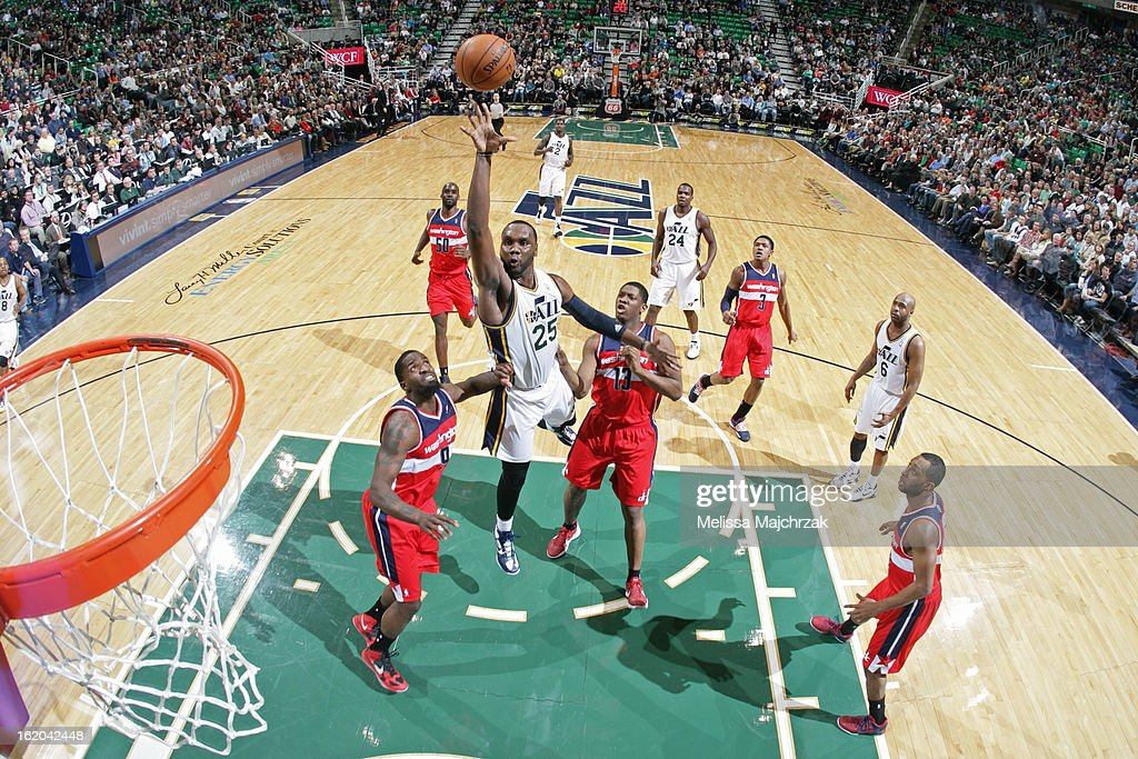 <a gi-track='captionPersonalityLinkClicked' href=/galleries/search?phrase=Al+Jefferson&family=editorial&specificpeople=201604 ng-click='$event.stopPropagation()'>Al Jefferson</a> #25 of the Utah Jazz puts up a shot against the Washington Wizards at Energy Solutions Arena on January 23, 2013 in Salt Lake City, Utah.