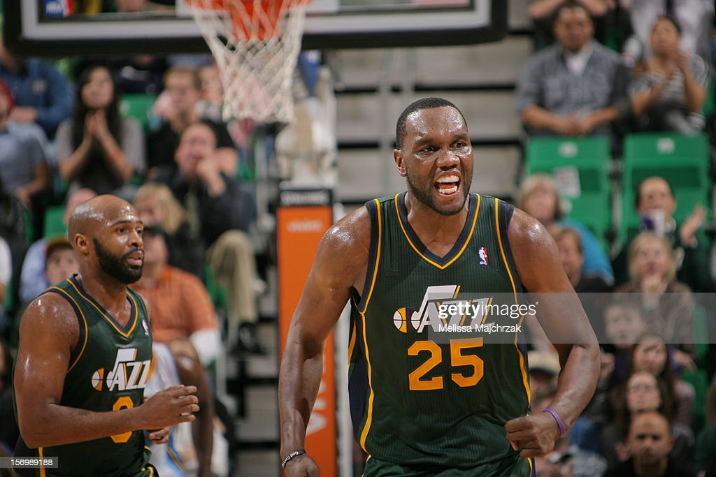 <a gi-track='captionPersonalityLinkClicked' href=/galleries/search?phrase=Al+Jefferson&family=editorial&specificpeople=201604 ng-click='$event.stopPropagation()'>Al Jefferson</a> #25 of the Utah Jazz reacts to a shot against the Denver Nuggets at Energy Solutions Arena on November 26, 2012 in Salt Lake City, Utah.