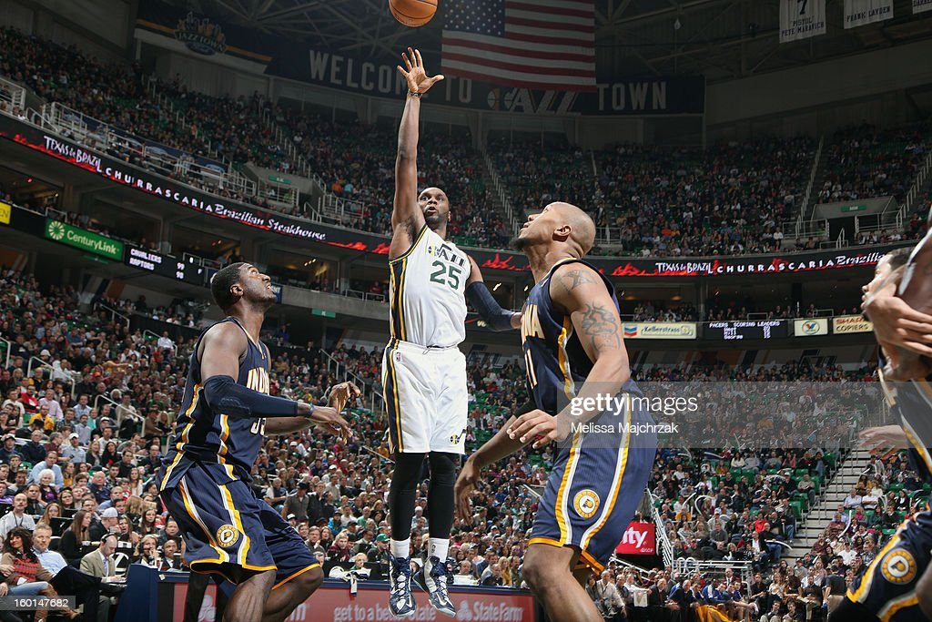 <a gi-track='captionPersonalityLinkClicked' href=/galleries/search?phrase=Al+Jefferson&family=editorial&specificpeople=201604 ng-click='$event.stopPropagation()'>Al Jefferson</a> #25 of the Utah Jazz shoots against <a gi-track='captionPersonalityLinkClicked' href=/galleries/search?phrase=Roy+Hibbert&family=editorial&specificpeople=725128 ng-click='$event.stopPropagation()'>Roy Hibbert</a> #55 and David West #21 of the Indiana Pacers at Energy Solutions Arena on January 26, 2013 in Salt Lake City, Utah.