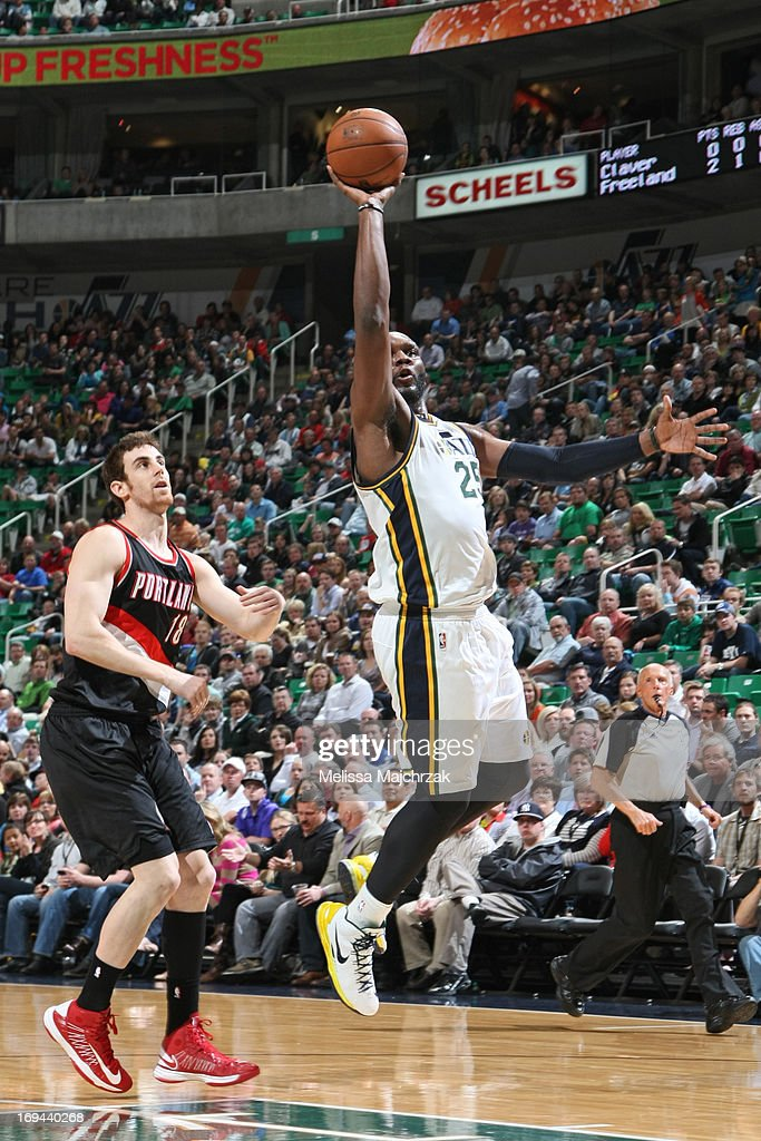 <a gi-track='captionPersonalityLinkClicked' href=/galleries/search?phrase=Al+Jefferson&family=editorial&specificpeople=201604 ng-click='$event.stopPropagation()'>Al Jefferson</a> #25 of the Utah Jazz shoots against <a gi-track='captionPersonalityLinkClicked' href=/galleries/search?phrase=Victor+Claver&family=editorial&specificpeople=5562510 ng-click='$event.stopPropagation()'>Victor Claver</a> #18 of the Portland Trail Blazers at Energy Solutions Arena on April 1, 2013 in Salt Lake City, Utah.