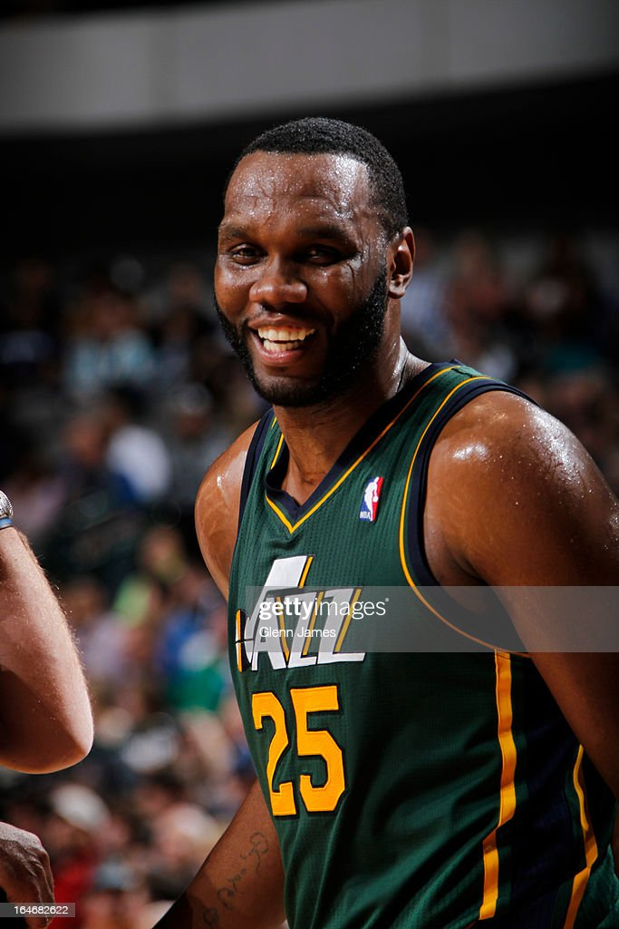 <a gi-track='captionPersonalityLinkClicked' href=/galleries/search?phrase=Al+Jefferson&family=editorial&specificpeople=201604 ng-click='$event.stopPropagation()'>Al Jefferson</a> #25 of the Utah Jazz smiles during the game against the Dallas Mavericks on March 24, 2013 at the American Airlines Center in Dallas, Texas.