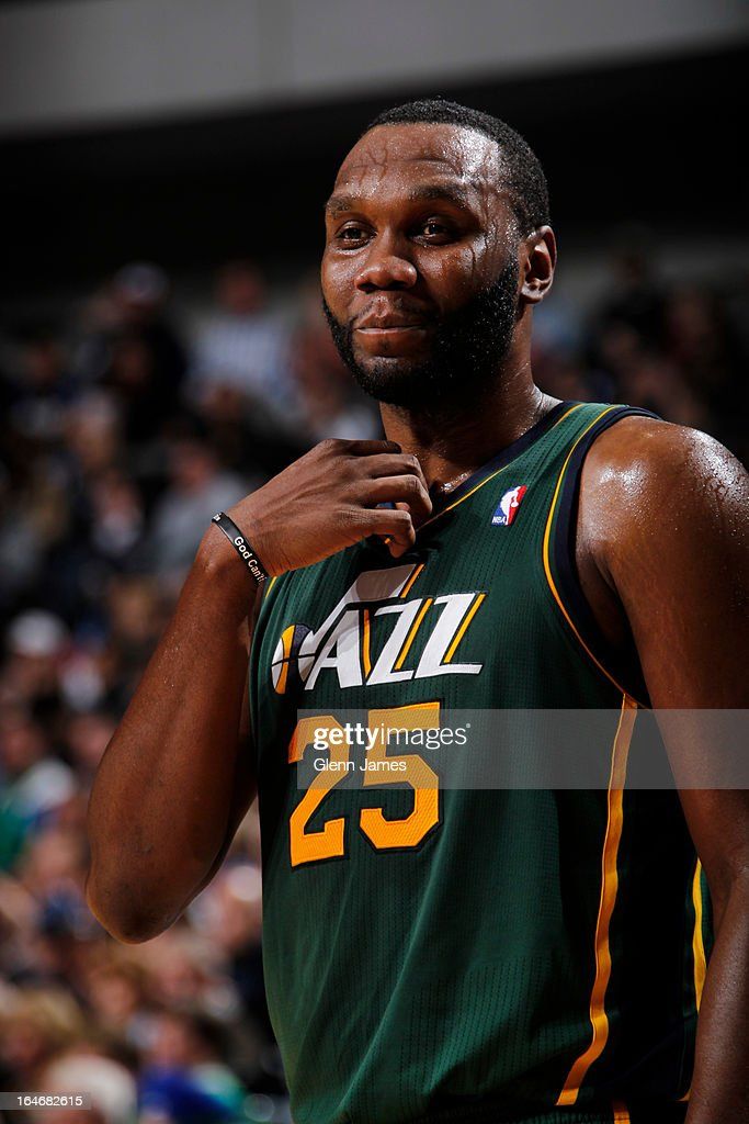 <a gi-track='captionPersonalityLinkClicked' href=/galleries/search?phrase=Al+Jefferson&family=editorial&specificpeople=201604 ng-click='$event.stopPropagation()'>Al Jefferson</a> #25 of the Utah Jazz stands on the court during the game against the Dallas Mavericks on March 24, 2013 at the American Airlines Center in Dallas, Texas.