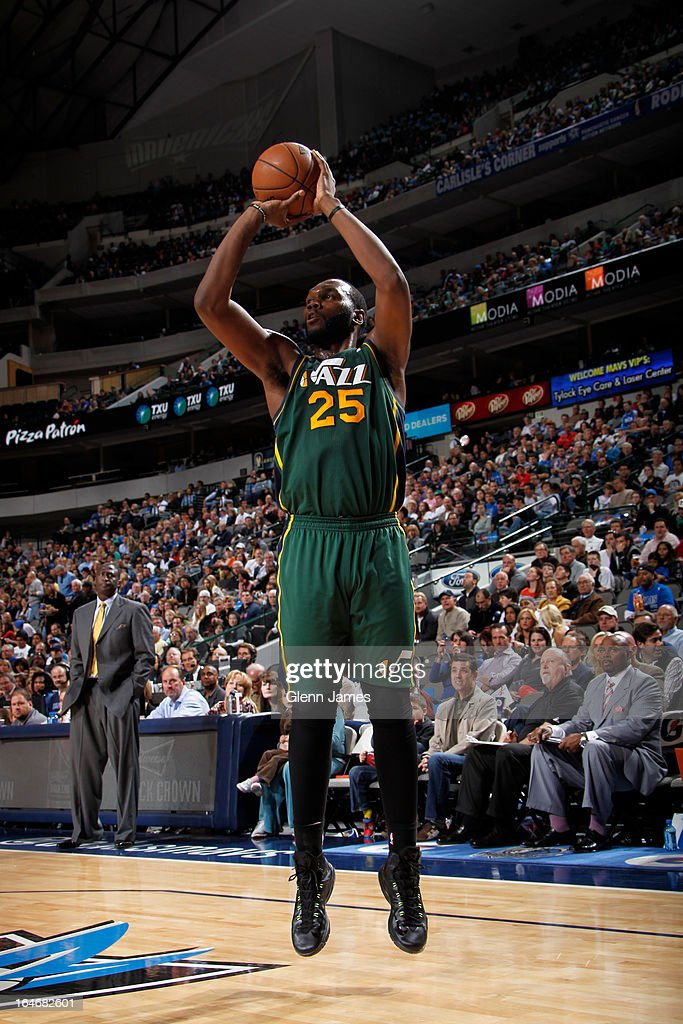 <a gi-track='captionPersonalityLinkClicked' href=/galleries/search?phrase=Al+Jefferson&family=editorial&specificpeople=201604 ng-click='$event.stopPropagation()'>Al Jefferson</a> #25 of the Utah Jazz takes a shot against the Dallas Mavericks on March 24, 2013 at the American Airlines Center in Dallas, Texas.