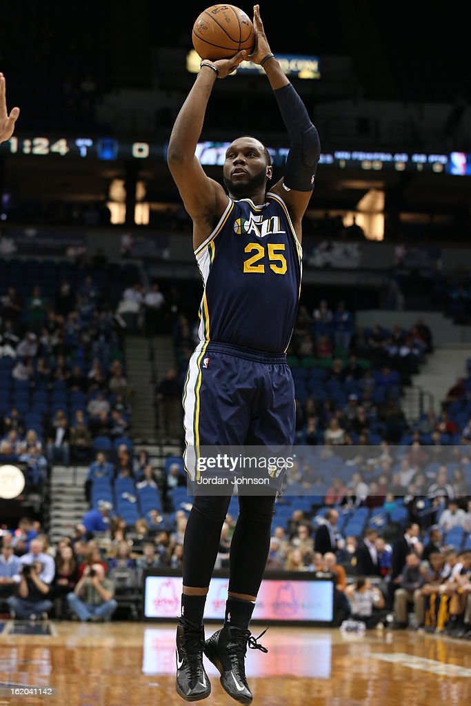 Al Jefferson #25 of the Utah Jazz takes a shot against the Minnesota Timberwolves on February 13, 2013 at Target Center in Minneapolis, Minnesota.