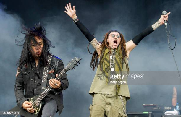 Al Jourgensen and Sin Quirin of Ministry performing live on Day 3 of Download Festival at Donington Park on June 11 2017 in Castle Donington UK