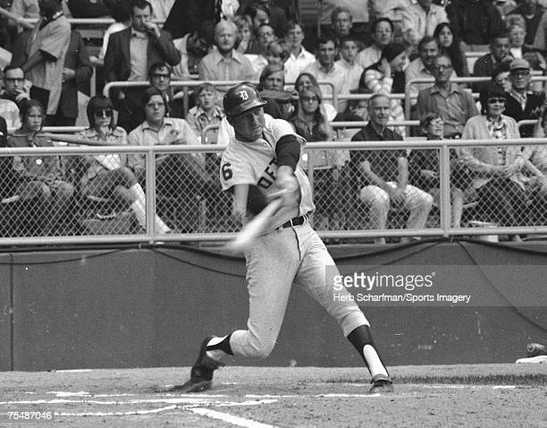 Al Kaline of the Detroit Tigers batting during a MLB game against the Cleveland Indians in June 1971 in Cleveland Ohio