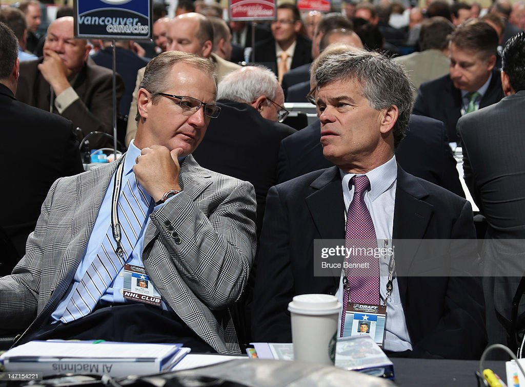 Al MacInnis and Team Owner Tom Stillman of the St. Louis Blues attend day two of the 2012 NHL Entry Draft at Consol Energy Center on June 23, 2012 in Pittsburgh, Pennsylvania.