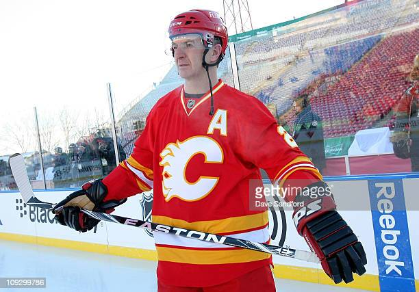 Al MacInnis of the Calgary Flames Alumni team skates during the 2011 Tim Hortons Heritage Classic Alumni Game at McMahon Stadium on February 19 2011...