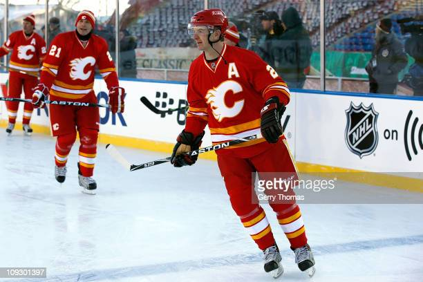 Al MacInnis of the Calgary Flames skates before the 2011 Heritage Classic Alumni Game against the Montreal Canadiens on February 19 2011 at McMahon...