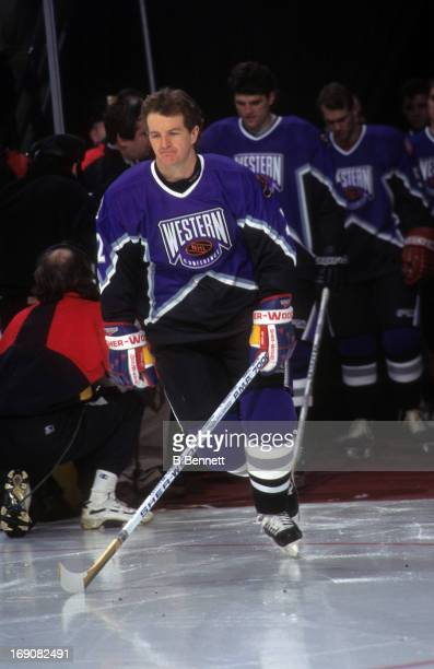 Al MacInnis of the Western Conference and the St Louis Blues is introduced before the 1996 46th NHL AllStar Game against the Eastern Conference on...