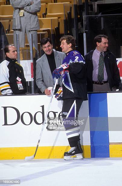 Al MacInnis of the Western Conference and the St Louis Blues speaks to reporters before the 1996 46th NHL AllStar Game against the Eastern Conference...