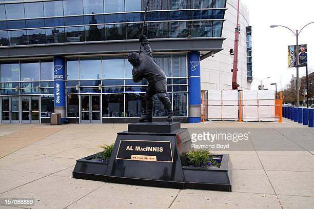 Al MacInnis statue sits outside Scottrade Center home of the St Louis Blues in St Louis Missouri on NOVEMBER 03 2012