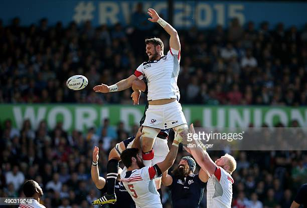 Al McFarland of the United States offloads the lineout ball during the 2015 Rugby World Cup Pool B match between Scotland and USA at Elland Road on...